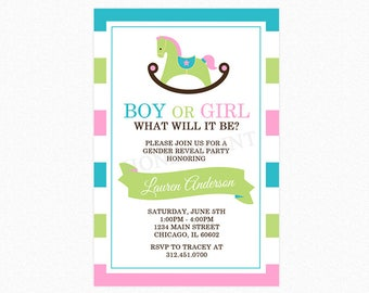 Rocking Horse Gender Reveal Invitation, Blue Teal, Pink, Green, Personalized, Printable or Printed
