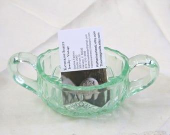 Green cut glass dish business card holder