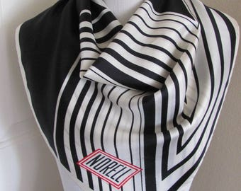 "NORELL Scarf // Beautiful Black White Silk Scarf // 26"" Inch 66cm Square"