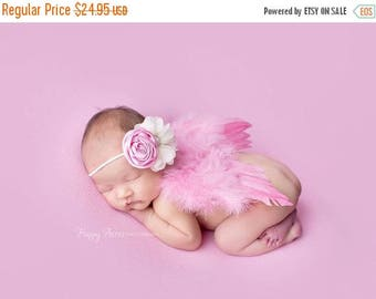 ON SALE Pink Feather Wing and Headband Set, Baby Photo Prop, Newborn Photography Prop, Baby Girl Headband, Baby Girl Prop, Pink Wings