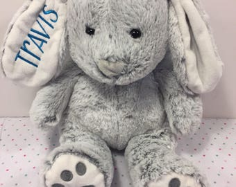 GRAY Large Embroidered and Personalized Plush Easter Bunny
