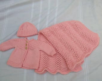 Knitted Baby Girl Newborn to 1 month Pink Blanket Sweater Hat Layette
