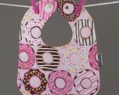 Pink Doughnuts Bib, Baby Snap Bib, Baby Girl Bib, Toddler Bib, Cotton Baby Bib, Shower Gift Under 20, Pink Donut Baby Shower