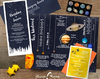 Wedding Invitation Suite: SAMPLE (Solar System, Planets, Stars, Constellations, Night Sky, Astronomy, Star Party, Trifold)