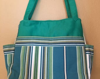 Katrina #1304, Project Tote, Large Project Tote, Striped Project Bag, Knitting Bag, Large Knitting Tote, Expanding Project Bag, Totes, Bags