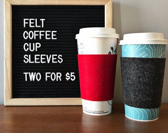 Coffee Cup Sleeves - Coffee Cup Cozy - Coffee To Go - Felt Coffee Sleeve - Eco-Friendly - Set of Two - Mix and Match - Twenty Colors