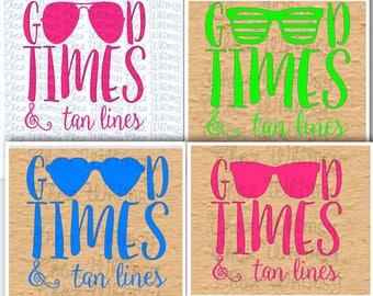 Beach SVG, Good Times and Tan Lines SVG, 4 Sunglass Designs, Summer Time Svg, Beach Cover Up SVG, Summer Theme Shirt Design