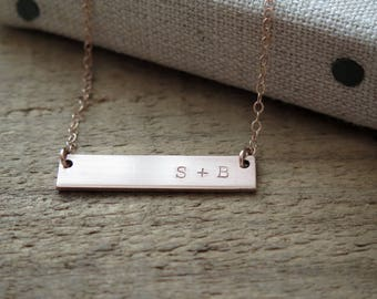 Double Sided Rose Gold Bar Necklace - 14k Rose Gold Fill - Reversible Thick Hand Stamped Jewelry - Layering Necklace by Betsy Farmer Designs