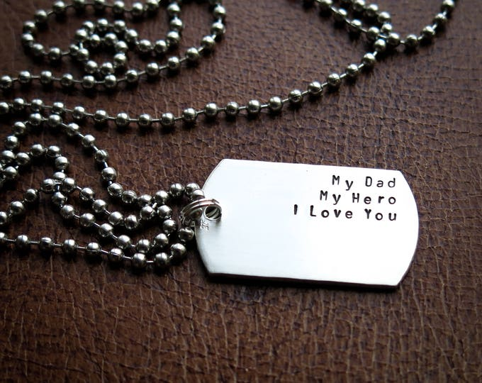 My Dad My Hero - Personalized Dog Tag Necklace for Father's Day - Hand Stamped Sterling Silver Tags