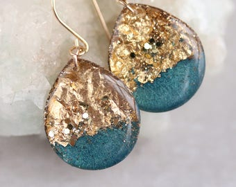 teal and gold leaf and glitter tear drop earrings on 14 karat gold fill ear wires - large size