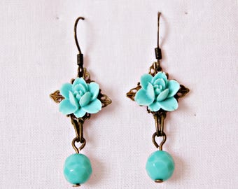 Antique Bronze Earrings. Aquamarine Flowers Earrings. Hook Earrings. Long Earrings. Perfect women gift