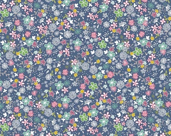 Daisy Days, in Daisy Secret Garden Navy by Riley Blake, Sold by the Half Yard