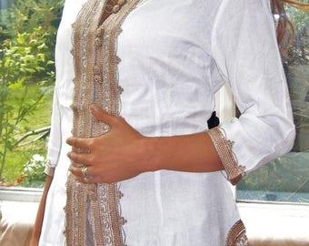 KAFTAN 20% SALE/ Handmade White & Gold Moroccan Tunic