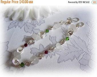 Beach Glass Bracelet - Frosted White Beach Glass Wire Wrapped Spirals Bracelet