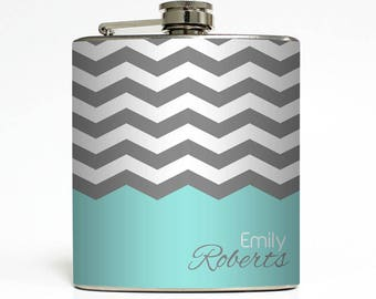 SUSAN COTNER - Personalized Flask Custom Color Chevron Name Monogram Stainless Steel 6 oz Liquor Hip Flask LC-1226 (17)