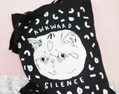 awkward silence, cat tote bag, anti social, rbf, black cat bag, crazy cat lady, illustrated tote bag, gift for cat lovers, cat tote, bag