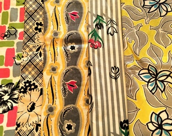 Vintage Fabric Lot of 6 Prints Gray Pink Yellow