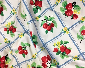 Vintage 1950s Fabric Strawberry Cherry Mid-century Unused 1+ yds.