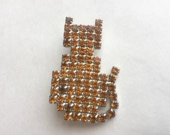 Vintage Rhinestone Cat Pin by Dorothy Bauer