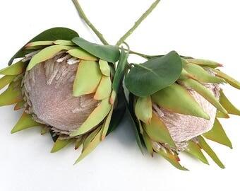Pink protea, faux protea, large King protea, long stem protea, faux flower for bridal bouquet, protea wedding