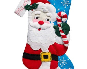 Sparkling Bucilla Christmas Stocking Hello  Santa just released