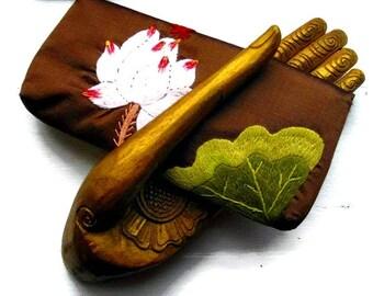 Brown Silk Wallet-Clutch -Vintage and Hand Embroidered with Lotus Flower - Origin Vietnam