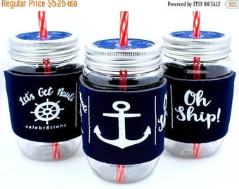 ON SALE Bachelorette Party Cup, Let's Get Nauti, Nautical, Anchor,  Navy, Oh Ship, Birthday Party, Last Sail,  Bride Cup