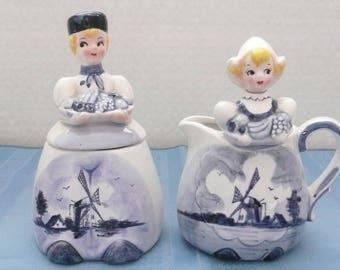 Dutch Boy and Girl Sugar and Creamer Set, Made in Japan, Delft Sugar and Creamer, Novelty Sugar and Creamer