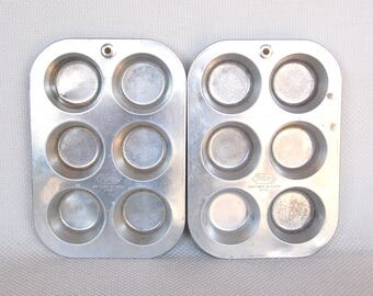 Set of 2 Vintage FOLEY Muffin Tins FOLEY Aluminum Full Size Muffin and Cupcake Pans Total One Dozen Muffins or Cupcakes