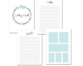 A5 Printable Planner Inserts, Planner Pages, Blue Flowers, Blue Boxes, Instant Download