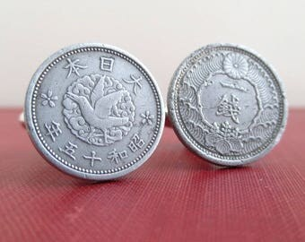 JAPAN Coin Cuff Links - Repurposed Japanese 1940 Coins, Bird & Flower Designs