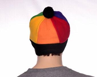 Rainbow Beanie Cap Made of Fleece Six Panel Beanie with Black Headband and Pompom
