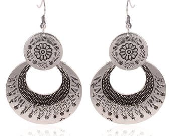 Floral Circle Tribal style dangle Earring Antique Finish Ethnic Markings Geometric Earring Gypsy Bohemian jewelry by Inali