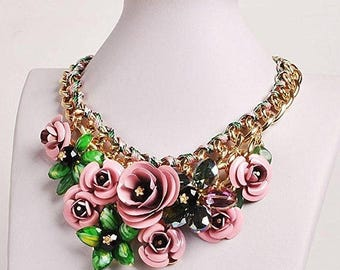 25% Off Sale Bib Flowers Necklace Floral Statement/Free Shipping
