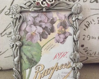 Picture Frame - 2 1/2 x 3 1/2 Silvertone Picture Frame with Beautiful Purple Rhinestone Jewel