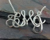 Sterling Silver Personalized Monogram Necklace, large size