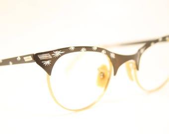 Small Unused Vintage Brown Cat Eye Glasses Aluminum NOS