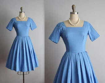 50's Dress // Vintage 1950's Cornflower Blue Cotton Garden Party Day Dress S