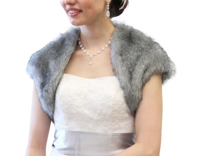 Easter Sale Faux Fox Fur Bridal Bolero Crop Jacket, Faux Fur Shrug, Faux fur Coat Grey Chinchilla