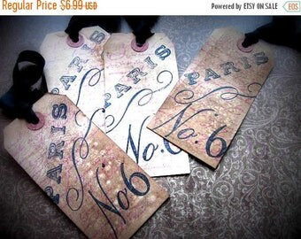 French Inspired Hang Tags - Paris #6 - set of 4 - Purple Black