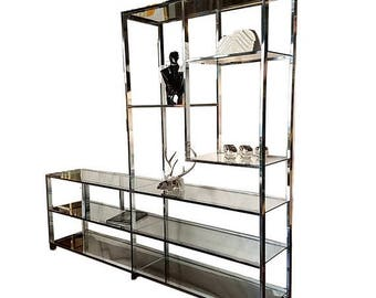 SUMMER SALE Extra Wide Chrome Baughman Style Etagere