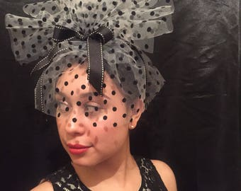 White Tulle with Black Flocked Polka Dot Fascinator with Veil