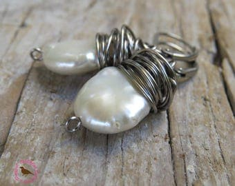 Antiqued Silver Wire Wrapped White Coin Pearl Earrings, White Flat Pearl Earrings, White Coin Pearl Earrings,  by MagpieMadness for Etsy