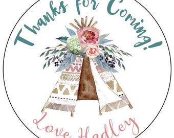 boho teepee stickers, teepee birthday party stickers, watercolor teepee labels, tribal birthday stickers, feather teepee labels
