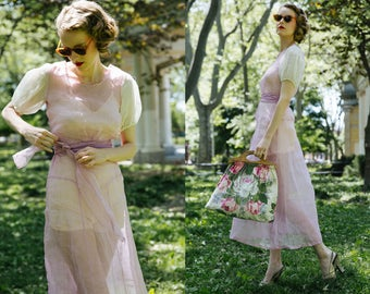 1930s Sheer Dress / Organdy Dress / 30s