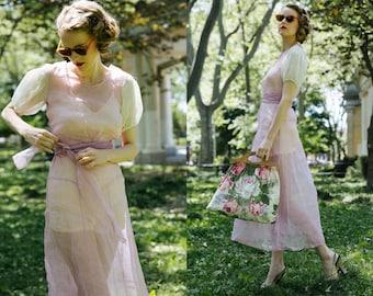 S A L E 1930s Sheer Dress / Organdy Dress / 30s