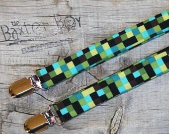 Pixelated Camo suspenders for little boy suspenders - ring bearer, photo prop, wedding