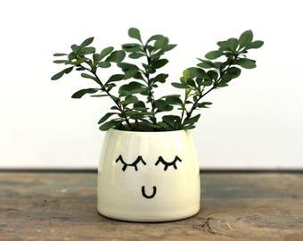 Face Succulent Planter- happy, white