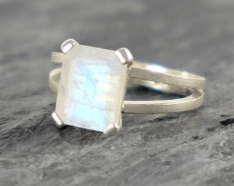 Moonstone Engagement Ring, Rainbow Moonstone Sterling Silver Ring, Faceted Rainbow Moonstone Jewelry Emerald Cut Ring - MADE TO ORDER