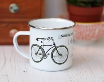 Bicycle Enamel Mug Camping Outdoor Picnic mug Cyclist Gift Teacup Bike quote vintage design JFK quotation
